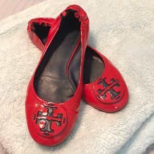Tory Burch Red and Navy Ballet Flats